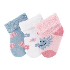 """Baby Mädchen Erstlingssöckchen Neugeborenen Socken Plüsch 3er-Pack Babysöckchen 3 Paar gefüttert """"Sonne/Blumen/Bienen"""", weiß, rosa, blau – 8202002"""