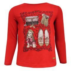 Mädchen T-Shirt lang, rot