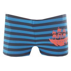 Sanetta Jungen Badehose Badeshorts Schwimmshorts Piratendruck gestreift, blau-orange - 430419