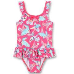 """Mädchen Badeanzug mit UV Schutz 50+ Schleifchen und Rüschen """"Papagei"""" Alloverprint, pink - 430456"""