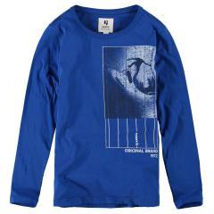 Garcia Jungen T-Shirt Langarmshirt mit Print, blau - G93404 2731