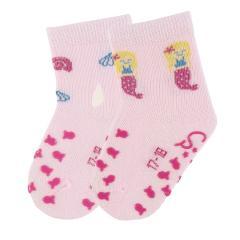 "Mädchen 2 Paar ABS-Krabbelsöckchen Anti-Rutsch-Socken Doppelpack ""Meerjungfrau"", rosa - 8012052"