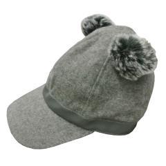 Mädchen Mütze mit Bommel, Grau - 10.516g