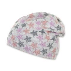 """Mädchen Kinder Baby Mütze LSF UV-Schutz 50+ Sommermütze Beanie Baumwollmütze """"Sterne"""", pink, silbergrau – 1502010"""