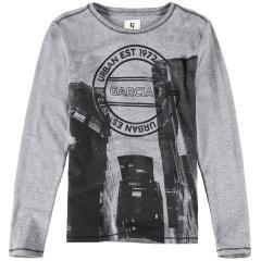 "Garcia Jungen T-Shirt Langarmshirt mit Logo ""City"", grau schwarz - I93404 1755"