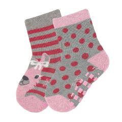 """Baby Mädchen ABS-Söckchen 2er Pack Anti-Rutsch-Socken Strümpfe mit rutschfester Sohle """"Lama Lotte gepunktet"""", silbergrau - 8101922"""