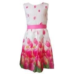Mädchen festliches Kleid Abendkleid Blumen, weiß-pink - 574109, Größe 140 140 | rosa |