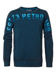 Jungen Pullover Sweatshirt Used-Look mit hellblauem Schriftzug,  blau B-FW-SWR309