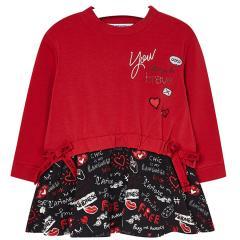 Mädchen Kleid mit langen Armen, rot - 4.976r