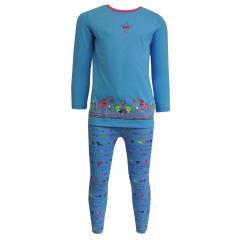 Mädchen Schlafanzug langarm mit Tiermotiven, blau