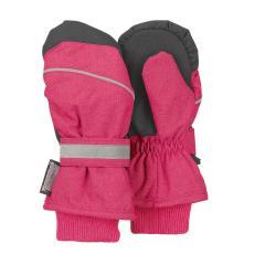 Mädchen Fäustlinge Handschuhe wasserdicht mit reflektierendem Klettverschluss einfarbig und verstärkten Handflächen, magenta melange - 4321803