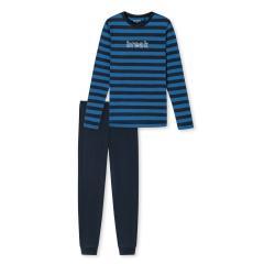 """Jungen Schlafanzug Pyjama lang gestreift bedruckt Schriftzug """"break"""", blau - 173848"""