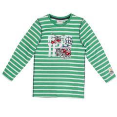 Salt&Pepper Jungen T-shirt gestreift langarm mit Feuerwehr-Motiv, grün – 93111151g