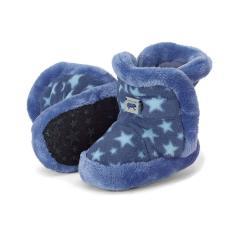 Baby Schuhe Jungen gefüttert mit Stoppern und Gummizug, Plüsch Sternemuster, tintenblau - 5101825