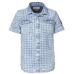 Jungen Hemd, Kurzarmhemd, Petrol Ind., weiß blau kariert - SIS444