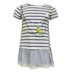 Baby Mädchen Kleid kurzarm gestreift, blau - 213040