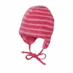 Baby Mädchen Wintermütze mit Ohrenschutz zum Binden gestreift gefüttert Mikrofleece, beerenrot - 4501845
