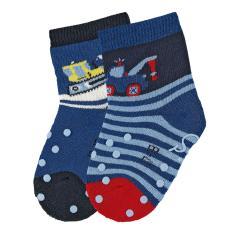 "Baby Jungen Krabbel-Söckchen gefüttert 2er Pack Anti-Rutsch-Socken Strümpfe mit rutschfester ABS-Sohle ""Schneeschieber/Abschleppauto"", blau - 8111922"