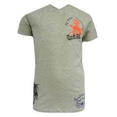 Jungen T-Shirt Shirt mit V-Ausschnitt und cooler Schrift, beige - B-HS17-TSV723