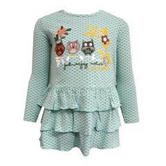 Mädchen Kleid langarm Eulen, türkis - 214063
