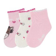 "Baby Mädchen Söckchen 3er-Pack Erstlingssocken, rosa beige ""Esel"" - 8411921"