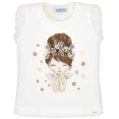 Mayoral Mädchen T-Shirt kurzarm mit süßem Puppen-Motiv, gold - 3.008g
