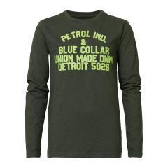 Jungen Langarmshirt Sweatshirt T-Shirt Petrol Ind. mit Neon-Aufschrift, dunkelgrün mel. - B-3090-TLR603