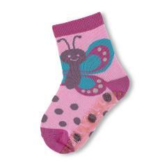Mädchen Anti-Rutsch-Socken Fliesenflitzer Schmetterling, mandelbluete - 8021806