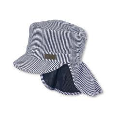 """Jungen Kinder Schirmmütze LSF UV-Schutz 15 Sommermütze Schildmütze mit Nackenschutz """"gestreift"""", marineblau-weiß – 1622011"""