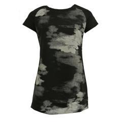Mädchenkleid kurzarm schwarz gemustert, schwarz - 573304