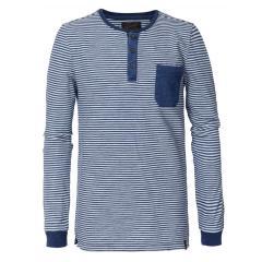 Jungen Langarmshirt Sweatshirt T-Shirt Petrol Ind. gestreift, blau weiß - B-3090-TLR630