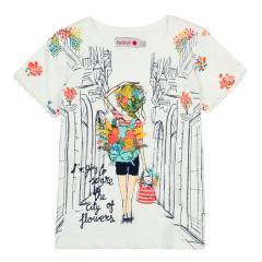Boboli Mädchen T-Shirt kurzarm mit Motiv, weiß - 407157