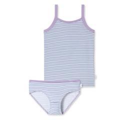 Mädchen Wäscheset Unterhose Unterhemd Spaghetti-Träger geringelt, lila - 173292