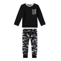Sanetta Jungen Schlafanzug Langarm Camouflage Muster auf Hose, schwarz/grau - 244530