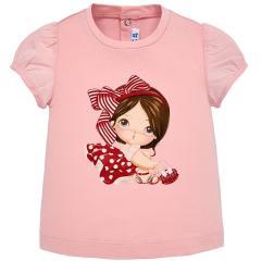 Baby Mädchen T-Shirt kurzarm mit Aufdruck, rosa - 1.008r