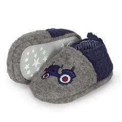 "Baby Jungen Krabbelschuhe Schuhe mit Gummizug, grau dunkelblau ""Traktor"" - 5301950"