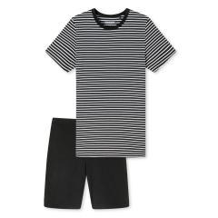 Jungen Schlafanzug Pyjama kurz Sommer geringelt, schwarz - 173847