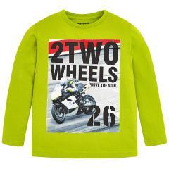Jungen Shirt mit langen Ärmeln Motorradmotiv, grün - 4.028gr