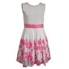 Eisend Mädchen Festkleid Sommer Kleid mit Tulpen, weiß - 901330