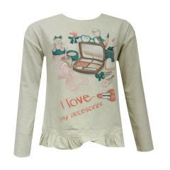 Kids Mädchen Shirt Langarmshirt T-Shirt, beige - 4064