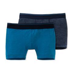 Jungen Schiesser Shorts Unterhosen 2er-Pack, graublau/blau mel.– 168459