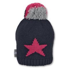 Mädchen Strickmütze Wintermütze mit Microfleece und Bommel, marineblau grau - 4721911
