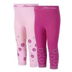 Mädchen Leggings 2-er Pack Herzen und Gänseblümchen, knallviolett - 8661821
