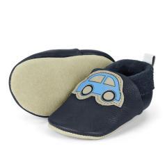 """Baby-Schuhe Jungen Krabbelschuhe aus 100% Leder mit Gummizug """"Auto"""", marineblau - 5201905"""