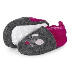 """Baby Mädchen Krabbelschuhe Schuhe mit Gummizug, grau pink """"Mäuse"""" - 5301951"""