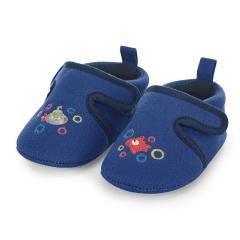 """Jungen Kinder Baby Schuhe Krabbelschuhe mit Klettverschluss und rutschfester Sohle für innen und außen """"U-Boot/Fisch"""", blau – 2302061"""