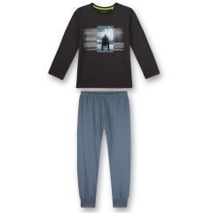 """Jungen Schlafanzug langrm aus100% Baumwolle """"Urban Music Mann""""-Print """"Heavy Bass""""-Schriftzug, phantom blau - 245049"""