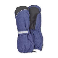 Jungen Stulpen-Handschuhe gefüttert Microfleecefutter Fausthandschuhe mit reflektierendem Klettverschluss und Reißverschluss wasserdicht atmungsaktiv, tintenblau - 4321915-376