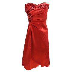 Mädchen Festkleid mit Stola und zum Binden, rot