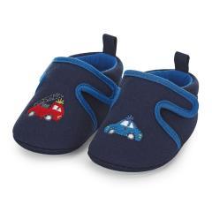 """Jungen Kinder Baby Schuhe Krabbelschuhe mit Klettverschluss und rutschfester Sohle für innen und außen """"Polizei/Feuerwehr"""", marineblau – 2302060"""